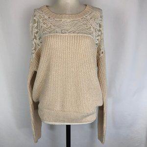 Essentiel Antwerp Lace Yoke Shaker Knit Sweater